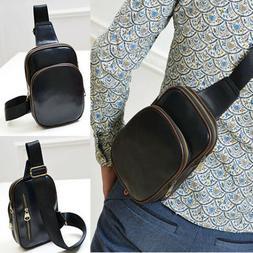Men's Leather Chest Sling Pack Cross Body Shoulder Bag Sport