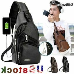 Men's Leather Chest Bag Shoulder Pack USB Charging Port Spor