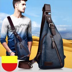 Men's Leather Chest Sling Backpack Shoulder Cross Body Messe
