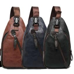 Men's Leather Sling Pack Chest Shoulder Crossbody Bag Backpa