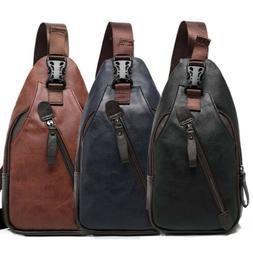 Men's Leather Sling Pack Chest Shoulder Crossbody Bag Backpa