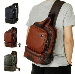 Men's Tactical Sling Chest Shoulder PU Leather Backpack Satc