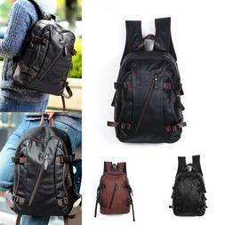 Men's Vintage Backpack School Bag Travel Satchel PU Leather