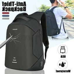 Men USB Charging Backpack Anti-Theft Travel Shoulder Laptop