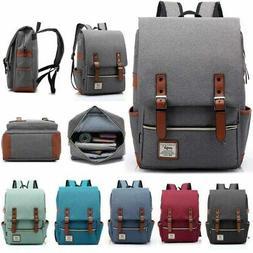 Men Women Canvas Backpack Rucksack Travel Student Schoolbag