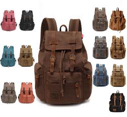 Men Women Travel Canvas Backpack Rucksack Camping Laptop Hik