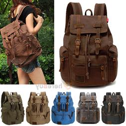 Men Women Vintage Army Canvas Backpack Rucksack School Satch