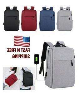 "Mens 15.6"" Laptop School Travel Backpack USB Charging Rucksa"