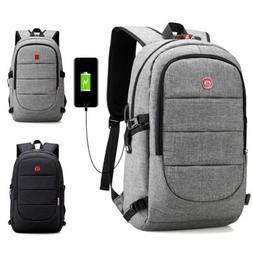 Mens Anti-Theft Shoulder School Bag USB Charging Travel Lapt