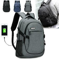 Mens Anti-Theft USB Charging Travel Shoulder Backpack Laptop