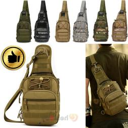 Mens Backpack Molle Tactical Sling Chest Bag Assault Pack Me
