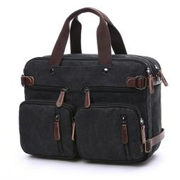 """Mens Canvas Briefcase 15"""" Laptop Backpack Large capacity Cro"""