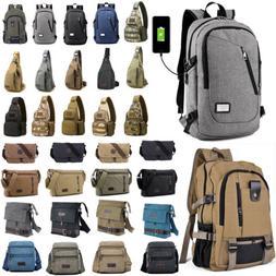 Mens Canvas Shoulder Messenger Bag School Satchel Gym Hiking