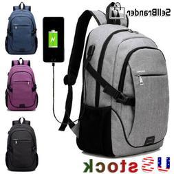 Mens Laptop Backpack Travel Shoulder Notebook School Bag Wit