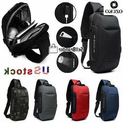 OZUKO Mens Shoulder Chest Bag Anti-theft Lock With USB Oxfor