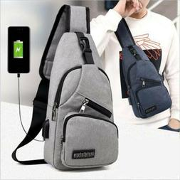 Mens Sling Bag With USB Charging Chest Pack Crossbody Should