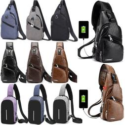 Mens Sling Bags With USB Charging Chest Pack Crossbody Shoul