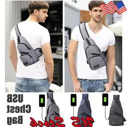 Mens USB Charging Sling Shoulder Backpack Chest Bag Cross Bo