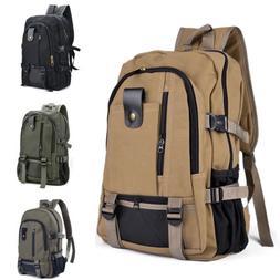 Men Classic Canvas Backpack Rucksack School Sport Large Hike