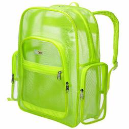 MGgear 17-Inch Green Mesh & Clear PVC School Backpack