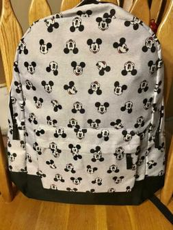 Disney Mickey Faces Icons  Gray & Black Large Backpack   NEW