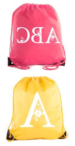 Monogrammed Backpack Custom Initial Drawstring Backpacks Per