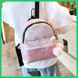 New 2018 women Backpack Velour Hairball girls School Bag Sol