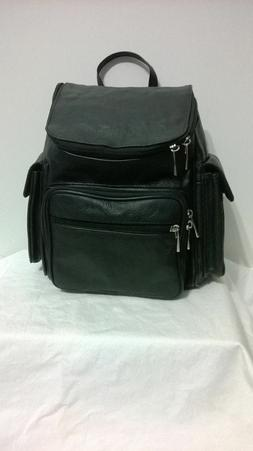 New Black Genuine Leather Zippered Backpack Style Purse Hand