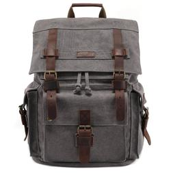 NEW Kattee Men's Leather Canvas Backpack Large School Bag