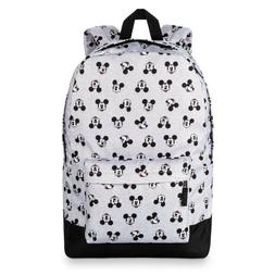 New Disney Store Grey Black Mickey Mouse Face Head Backpack