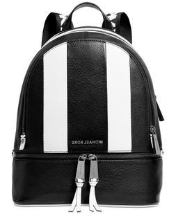 NWT MIchael Kors Rhea Medium Striped Leather Backpack- Black