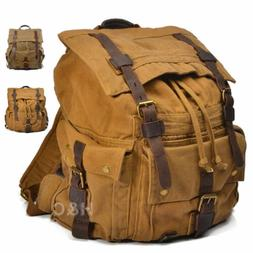 Outdoor Canvas Rucksack Camping Hiking Backpack Laptop Shoul