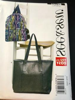 Butterick Pattern B6121 ~ EASY SEE & SEW ~ BackPack & Tote B