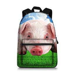 JeremySport 15 Inch Pig Backpack Canvas 3D Animal Face Back