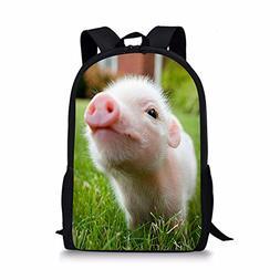 Pig Backpack for Elementary School Kids Girls Bookbags Perso