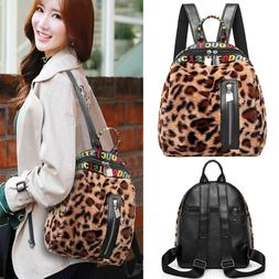 Plush Leopard Print Backpacks Women Travel Winter Teenage Gi