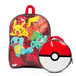 Pokemon Pikachu Boys School Backpack Book Bag Lunch Box Kids