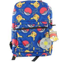 Pokemon Pikachu Print Backpack School Book Bag Boys Kids
