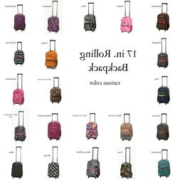 Polyester 17-inch Rolling Mesh Pocket Backpack Travel Trolle