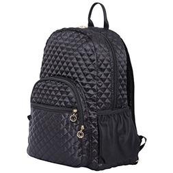 "Quilted Laptop Backpack 15"" Laptop Bookbag Deluxe Quilted Da"