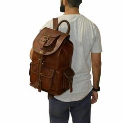 men/'s genuine Leather backpack satchel briefcase laptop brown vintage Bag