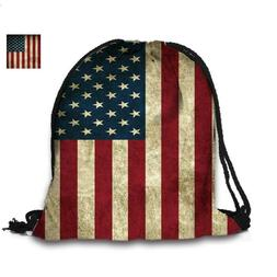Retro American Flag Bag Draw string Backpack Back pack unise