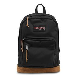 Jansport Right Pack Backpack Black Leather Suede Canvas Back
