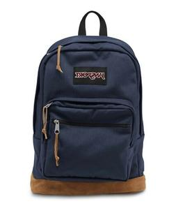 Jansport Right Pack Backpack Navy Leather Suede Canvas Back