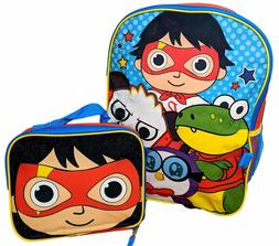 Ryan's World Boys School Backpack Lunch Box Book Bag SET Sup