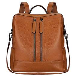 S-ZONE Women Genuine Leather Backpack Casual Shoulder Bag Pu