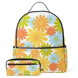School Backpack Bag with Pencil Case Blue Green Yellow Red F