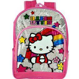 Hello Kitty School Backpacks Bag Pink Book Bags Kids Silver