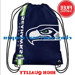 Seattle Seahawks Logo Drawstring Backpack Fan Gym Sport Bag