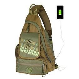Sling Bag with USB Charging Port, Sling Backpack USB, Larswo